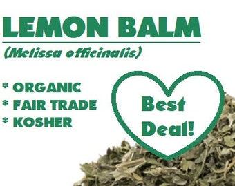 Organic LEMON BALM - Melissa officinalis ounce herb, certified organic, fair trade, kosher, non-GMO, ounces, oz
