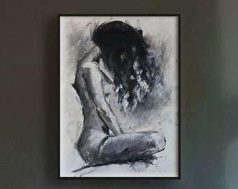 Original Charcoal Drawing of Fashionable Woman Wall Art Home House Decor on Crescent Board Suitable for Framing 12 Inches by 16 Inches