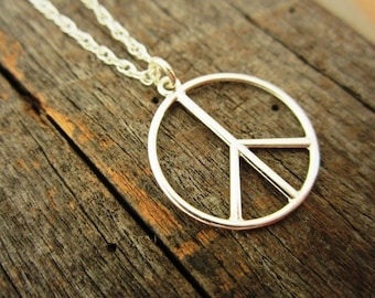 95bd0ed9c Sterling Silver Peace Sign Pendant Necklace - Solid Sterling Silver Peace  Pendant and Chain