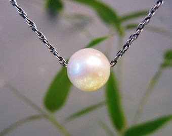 Genuine Natural Pearl and Antiqued Pure Sterling Silver Chain Necklace