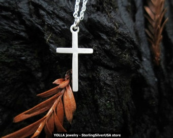Solid Sterling Silver Cross Pendant Necklace - Double Rope Pure Sterling Silver Chain - made in USA
