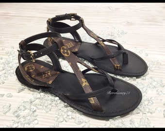 1f8bd3591ac174 Louis Vuitton Handcrafted Custom Made Reclaimed Canvas Strappy Gladiator  Style Summer Sandal