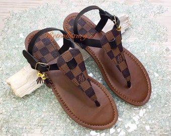 adc8cb435c35c3 CLOSEOUT The Damier Custom-Made Reclaimed LV Louis Vuitton Upcycled Handbag  Canvas Summer Thong SandAL