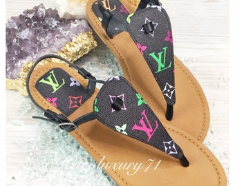 d40aa7504e1 Custom Made Repurposed Upcycled Louis Vuitton Handbag Canvas Summer Thong  Sandal Multicolor ONLY 6 AVAILABLE
