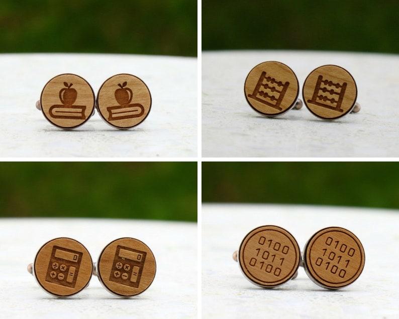 Nerd Inspired Cufflinks Calculator  Laser Cut Wood Cufflinks Silver or Gunmetal Australian Seller Binary Code Bronze Copper