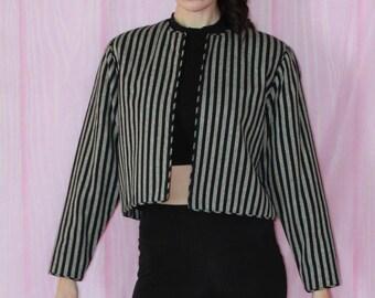 1980s 80s Vintage, Black, Silver, Striped, Cropped, Blazer, Jacket, Shoulder pads, Small, Medium,