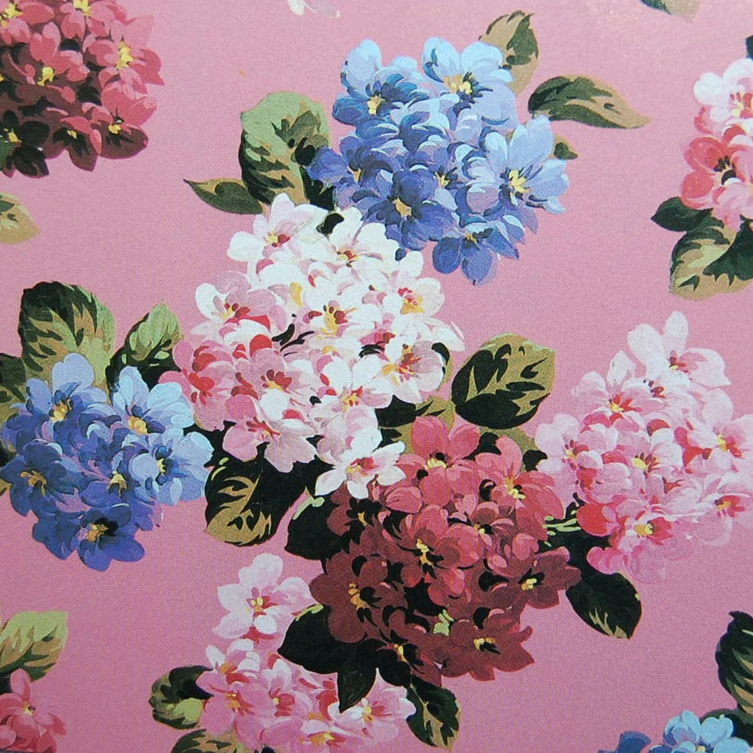 English chintz vintage paper pink and blue flowers etsy zoom izmirmasajfo