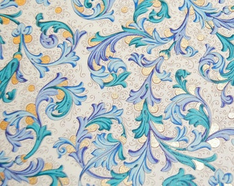 Florentine Paper - 5 x 4.25 inches - Blue and Teal with Gold Highlights, Two Sheets