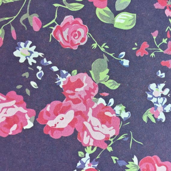 Floral Pattern Two Sheets of Pink Roses Scrapbooking Floral Paper Decoupage Paper Country Flowers Floral Paper Wrapping Paper