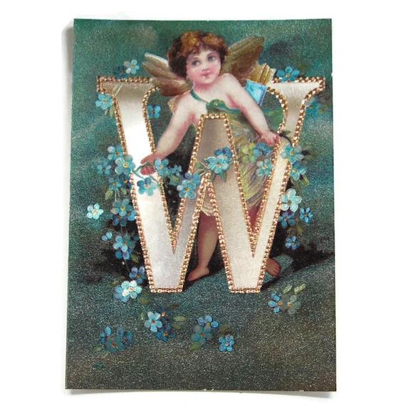 Letter W Vintage Alphabet Angel Postcard, Silver Foil Angel, Reproduction  of Ellen Clapsaddle Angel Art from 1895, Vintage Postcard 4 x 6