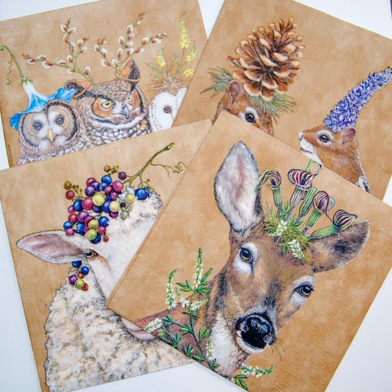 Paper Napkin for Decoupage//Stag//Scrapbooking//Card Making//Serviette//x2