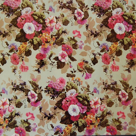 English chintz vintage paper pink and white morning glories etsy image 0 mightylinksfo