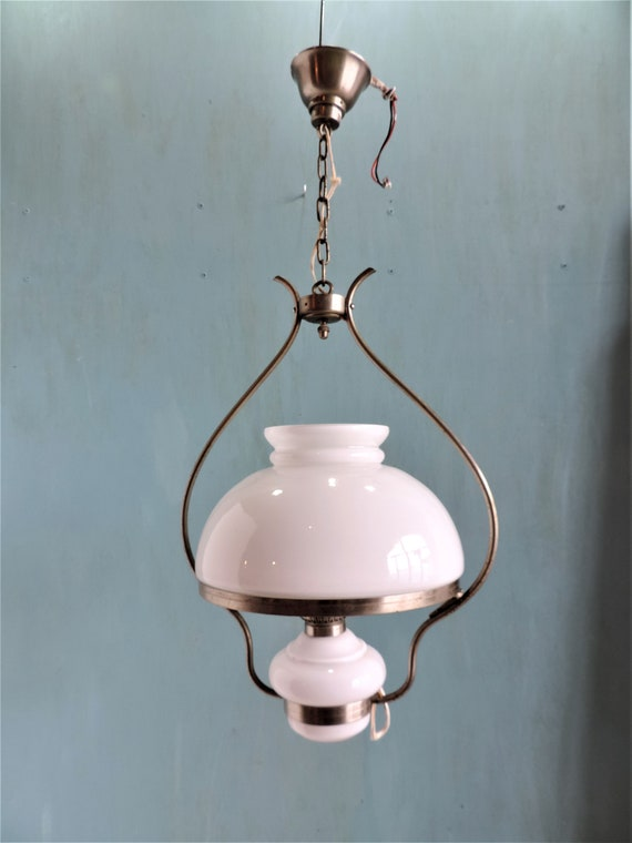 new product 9714c 20d67 A vintage French, hurricane pendant lamp, ceiling light, with white milk  glass shade and oil bowl