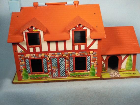 Vintage-Fisher Prix-1980-1986-Play famille-brun-numéro de maison 952-complet
