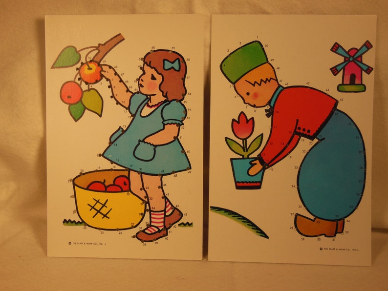 Vintage-1960s-Child Guidance-Sew By Number-6-Cards-Like New image 2