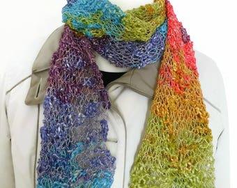 Hand knit fashion scarf, fancy scarf, hand knit scarf, handmade scarf, rainbow long scarf, ladies scarf, drop stitch scarf, scarf UK