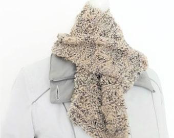 Cream ladies scarf, homemade scarf, hand knit scarf, fancy scarf, drop stitch scarf, knitted neck warmer, muffler scarf, lightweight scarves