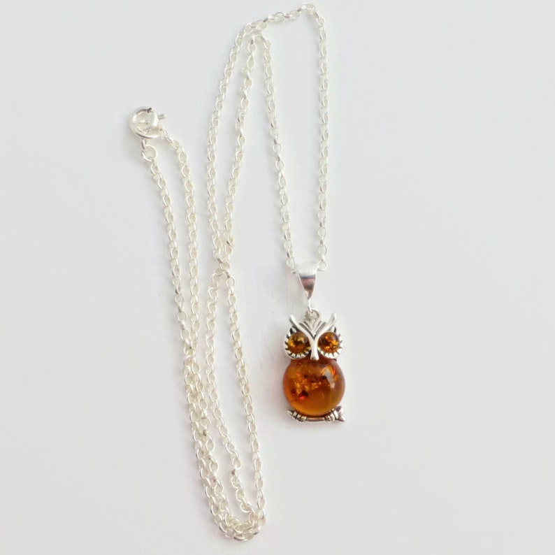 Chain Owl Pendant 925 Sterling Silver Baltic Amber Necklace Jewellery Jewelry
