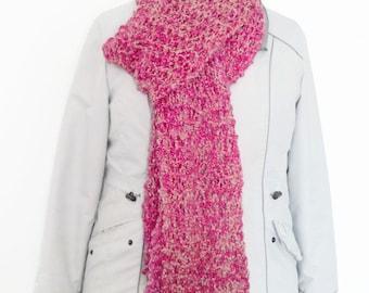 Pink long scarf, hand knit fashion scarf, fancy scarf, hand knit scarf, handmade scarves, ladies scarf, drop stitch scarf, knitting gifts
