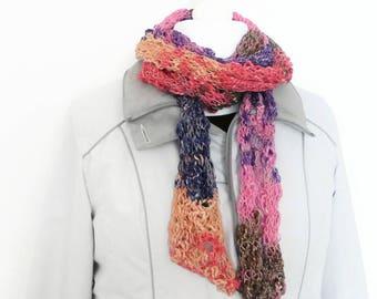 Rainbow long scarf, hand knit fashion scarf, fancy scarf, hand knit scarf, handmade scarves, ladies scarf, drop stitch scarf, knitting gifts