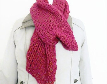Cerise knit scarf, ladies scarf, knitted homemade scarf, scarf UK, neck warmer scarf, drop stitch scarf, hand knit scarves, neck scarf