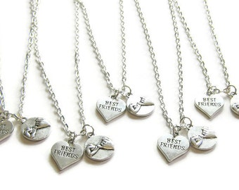 5 Best Friends Necklaces, Pinky Promise And Heart Best Friend, Five Best Friends, 5 BFF Necklaces, Five Friends Gifts, 5 Friends Jewelry