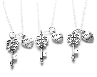 3 Best Friends Are The Key To My Heart  Necklaces Bff