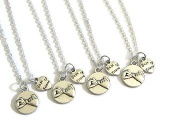 4 Best Friends Pinky Promise Necklaces, 4 Best Friends Jewelry, 4 BFF Necklaces, 4 Best Friends Necklaces