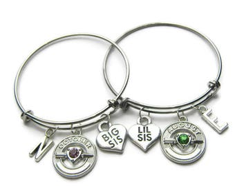Big Sis Lil Sis Bangle Bracelets, Sisters Bracelets, Big Sis Bracelet, Lil Sis Bracelet, Sisters Bangles, Birthstone Bangles, Personalized