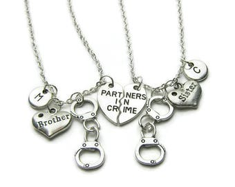 2 Partners In Crime Brother Sister Necklaces, Brother And Sister Necklaces, Handcuff Necklaces,Brother Sister Partners In Crime,Personalized