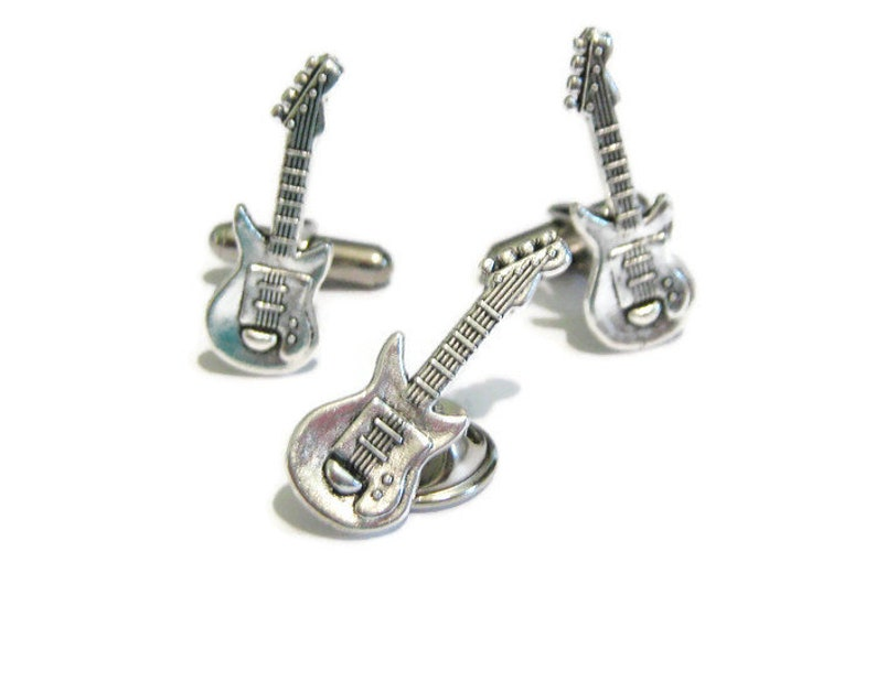 Mens Gift Set Cufflinks For Guitar Player Music Cufflinks Musician Cufflinks Guitar Cufflinks And Tie Tack Set Guitar Player Cufflinks