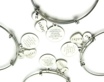 4 Sisters Bracelets, Bangles For 4 Sisters, Sisters Bracelets, I Would Not Change You For The World Bracelets, Sisters Gift, Personalized