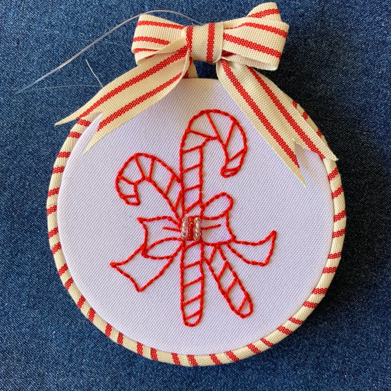Embroidered Christmas Ornaments 4 Hand Stitched Embroidery Hoop Christmas