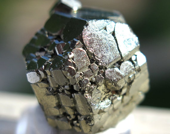 24 gram Complete Complex Cool New Find of Pyrite. Pyritohedron, Twinned Crystal. Racracancha Mine, Pasco Dept. Peru