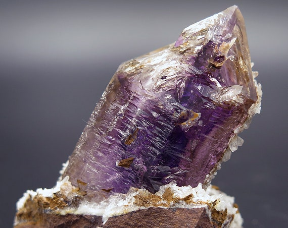 Beautiful Amethyst Quartz on Matrix with complex surface and quartz on it's backside. Goboboseb, Namibia