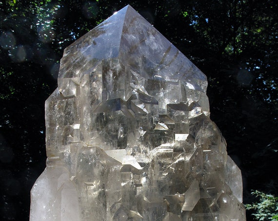 Special find, 18.8 kg cathedral quartz crystal with custom iron stand. Mined Sapo Mine, Brazil. NO SHIPPING, pick up in CT or we can meet.