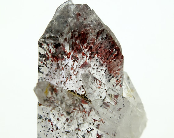 A Natual 25 Gram Brandberg Quartz Crystal Heavy with included Fiery Bright Red Hematite. Goboboseb, Namibia