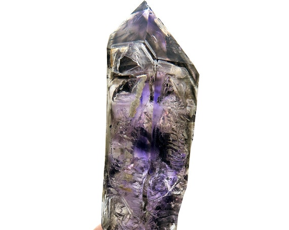 121.3 g Quartz V. Amethyst with several moving bubbles in pristine condition. Goboboseb, Namibia 11 cm tall