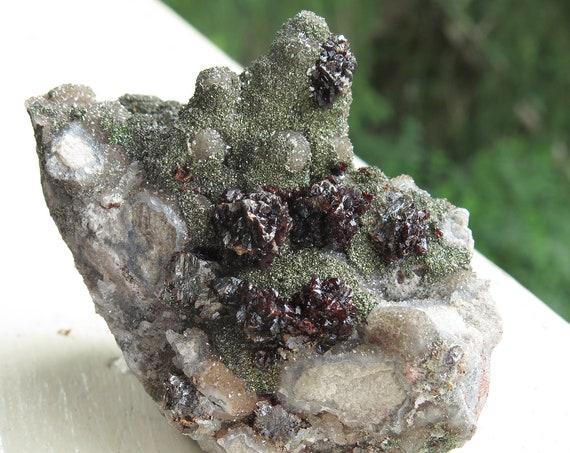 Raspberry Sphalerite clusters on druzy quartz w Marcasite crystals on matrix. GP Materials, South Quarry, Potosi, Washington Co., Missouri
