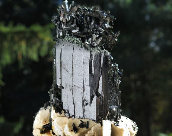 Lustrous, Complete, high Quality large, Aegirine crystal with Feldspar. Mt. Malosa, Zomba, Malawi. Unusual