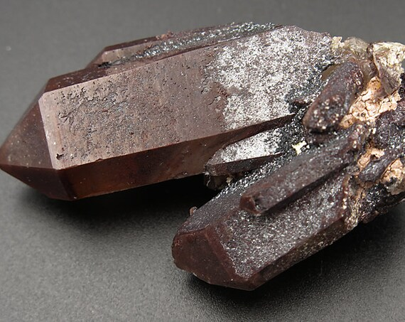 Red Hematite Quartz Crystal with a Natural Silver frosting from the Orange River Region. 44 Grams