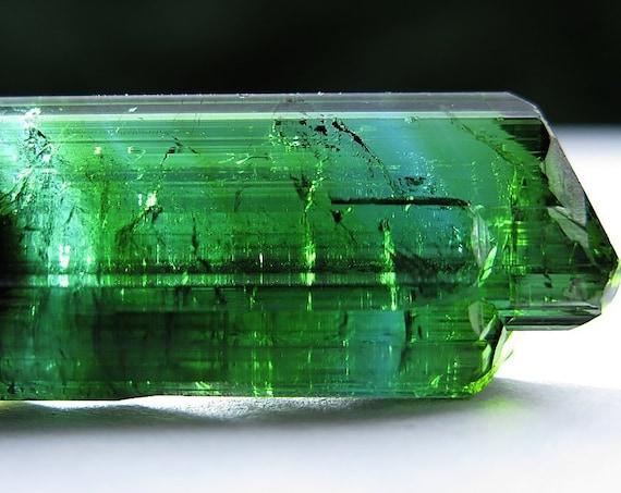 A gemmy beautiful bi-color 18.6 gram Green and Blue tourmaline Crystal. Minas Gerais Brazil