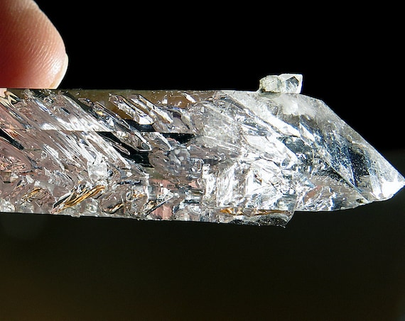 Glassy 40.4 Gram Double Terminated Brandberg Crystal 86 x 28mm with 2 bubble Enhydros moving and most likely many others