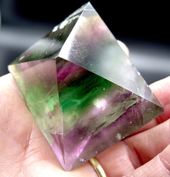 Offering a high end Fluorite Octahedron. Rainbows, mined long ago Jiangxi Prov. China. Former M. Zinn collection