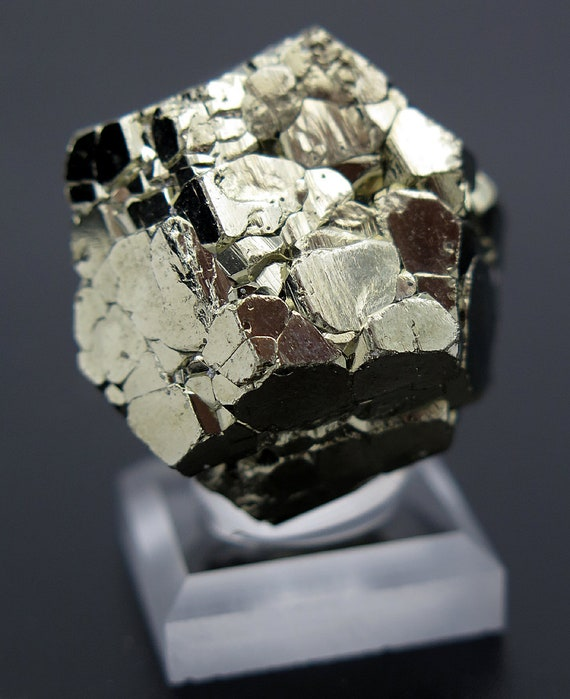 35 Gram Complete Complex Cool New Find of Pyrite. Pyritohedron, Twinned Crystal. Racracancha Mine, Pasco Dept. Peru
