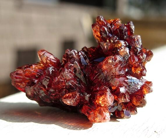 Rhodochrosite crystal cluster N'Chwaning Mine, Northern Cape Prov., Kalahari Manganese Field, South Africa. 30 grams. SEE VIDEO
