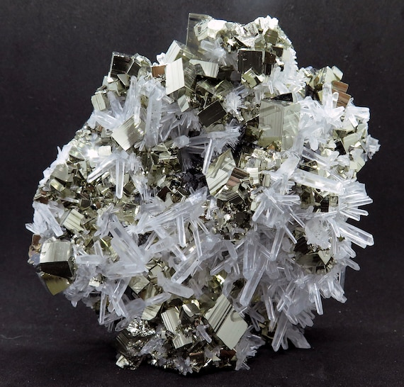 Grade A pyrite with quartz. Self standing. A showy display. Alimon Mine, Huaron, San Jose de Huayllay, Cerro de Pasco, Pasco, Peru