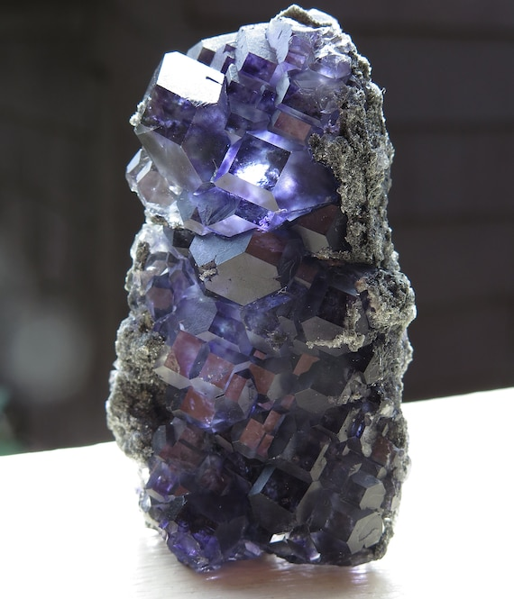 Lustrous Two side Fluorite. Xia Yang mine, Yongchun Co., Quanzhou, Fujian, China 3 inch. 81 grams