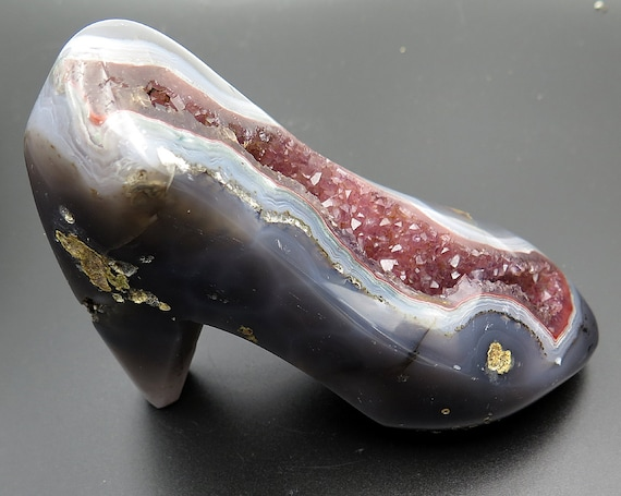 Like crystals? Like Shoes? Amethyst and agate carved shoe