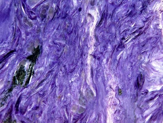 Top quality Charoite slab two side polish. Murunskii Massif, Chara and Tokko Rivers Confluence, Aldan Shield, Russia. 4.5 inch
